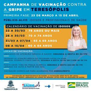 Campanha de vacinação contra a gripe em Teresópolis começa na segunda, dia 23, pelos idosos e profissionais de saúde
